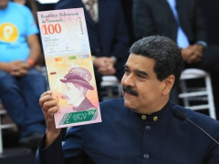 President Maduro shows off the new 100 Sovereign Bolivar bill